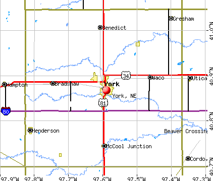 York, NE map