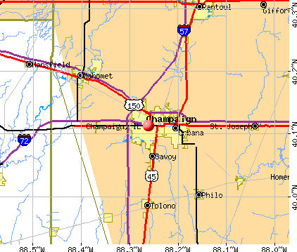Champaign, IL map