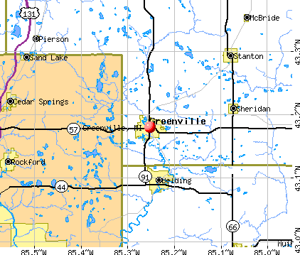 Greenville, MI map