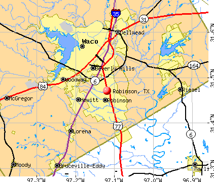 Robinson, TX map