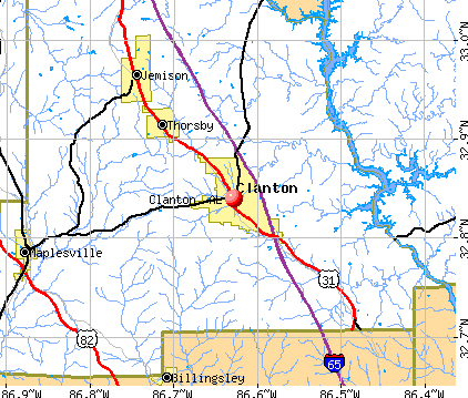 Clanton, AL map