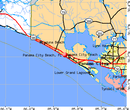 Panama City Beach, FL map