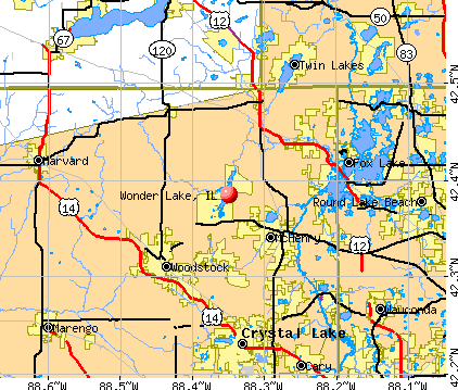 Wonder Lake, IL map