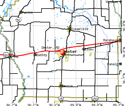 Dexter, MO map