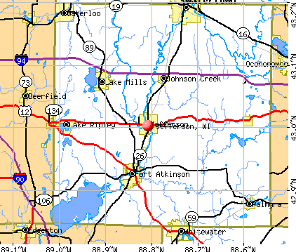 Jefferson, WI map