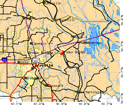Breaux Bridge, LA map