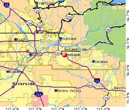 Redlands, CA map