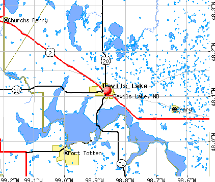 Devils Lake, ND map
