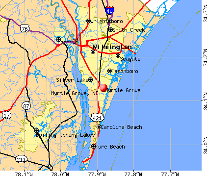 Myrtle Grove, NC map
