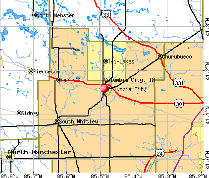 Columbia City, IN map