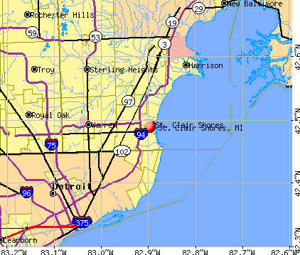 St. Clair Shores, MI map