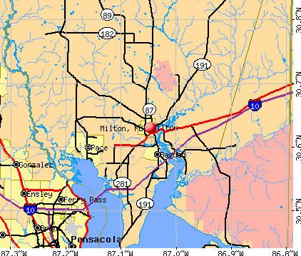 Milton, FL map