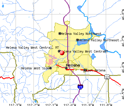 Helena Valley West Central, MT map