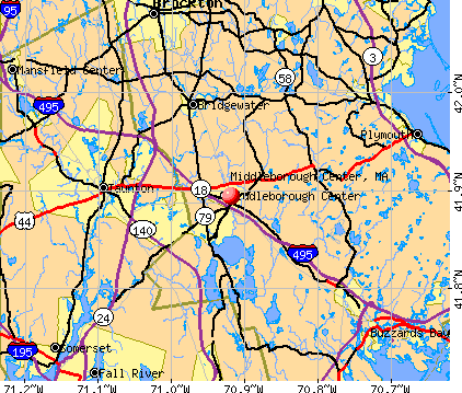 Middleborough Center, MA map