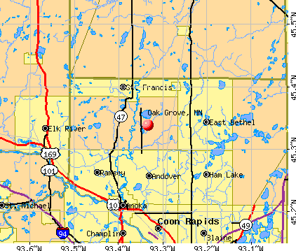 Oak Grove, MN map