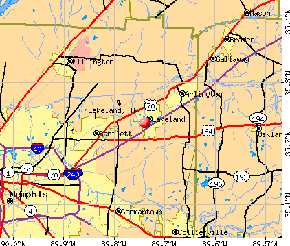 Lakeland, TN map