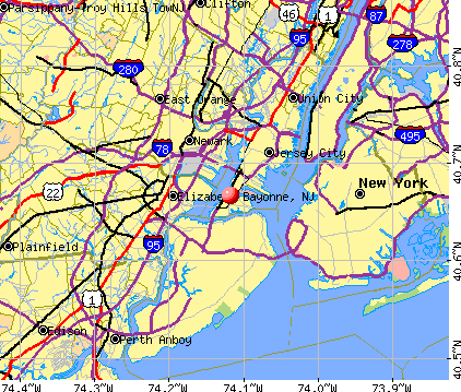 Bayonne, NJ map