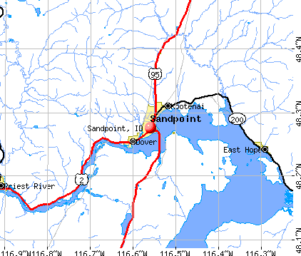 Sandpoint, ID map