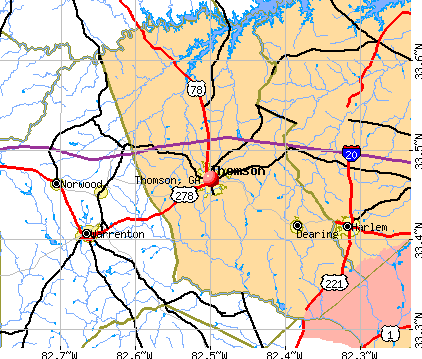 Thomson, GA map