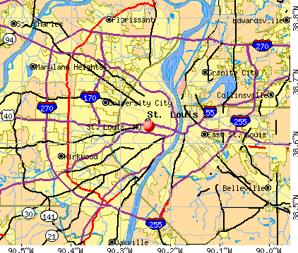 louis kansas arch map st of