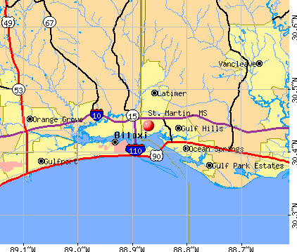 St. Martin, MS map