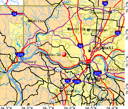 Covedale, OH map