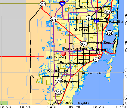 Fountainbleau, FL map
