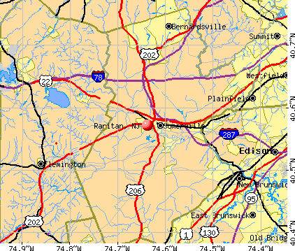 Raritan, NJ map