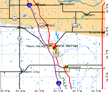 Pauls Valley, OK map