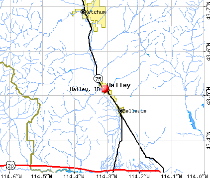 Hailey, ID map