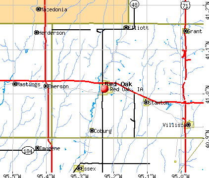 Red Oak, IA map