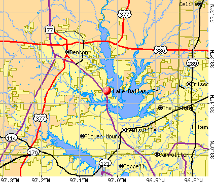 Lake Dallas, TX map