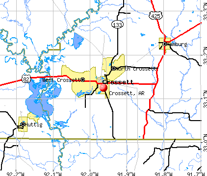 Crossett, AR map