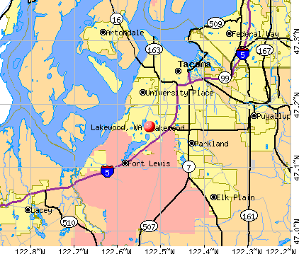 Lakewood, WA map