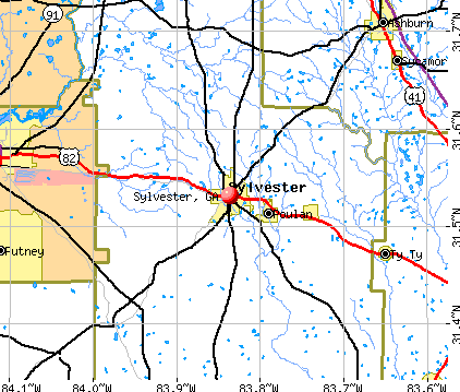 Sylvester, GA map