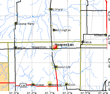 Hoopeston, IL map