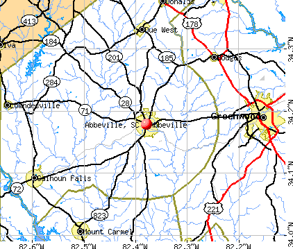 Abbeville, SC map