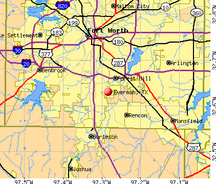 Everman, TX map