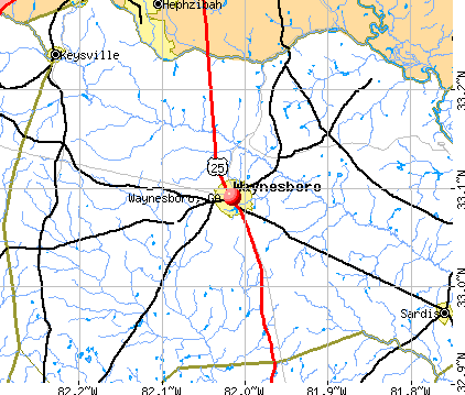 Waynesboro, GA map