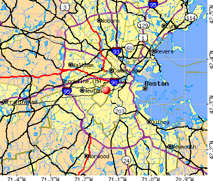 Brookline, MA map