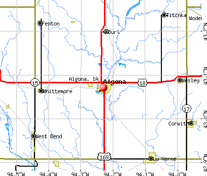 Algona, IA map