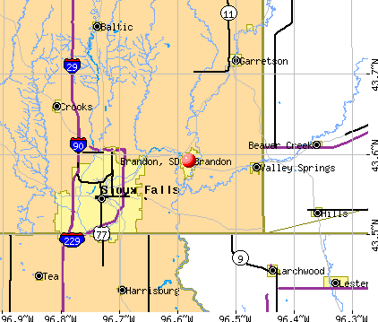Brandon, SD map