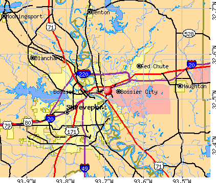 Bossier City, LA map