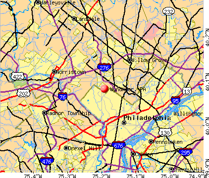 Wyndmoor, PA map