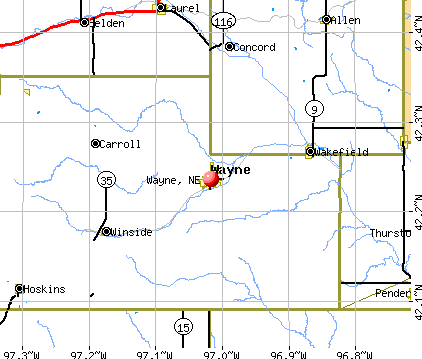 Wayne, NE map