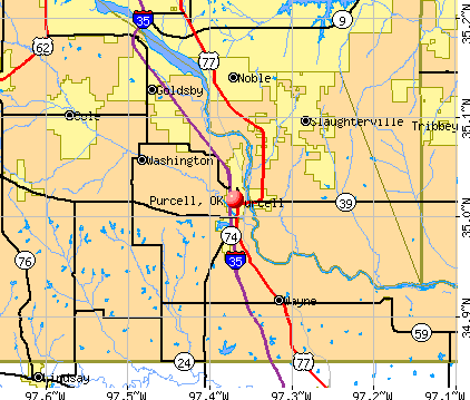 Purcell, OK map