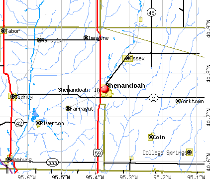 Shenandoah, IA map