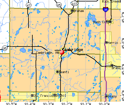 Cambridge, MN map