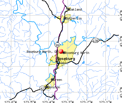 Roseburg North, OR map