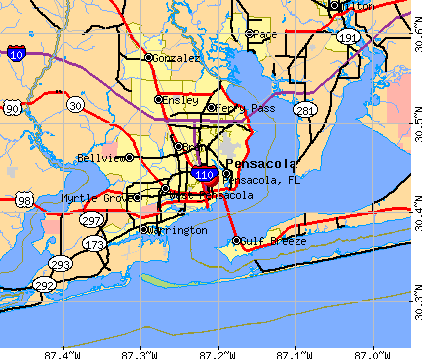 Pensacola, FL map